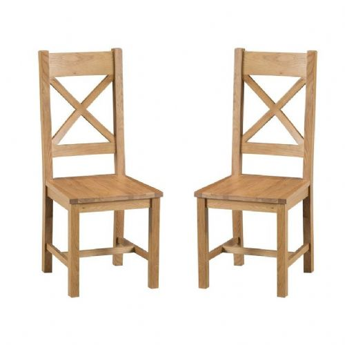 Chelmsford Oak Cross Back Chair With Solid Pad
